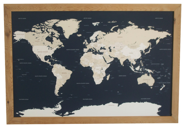 Pushpin World Travel Map With Wood Frame, Navy and Cream - Traditional - Bulletin Boards And ...