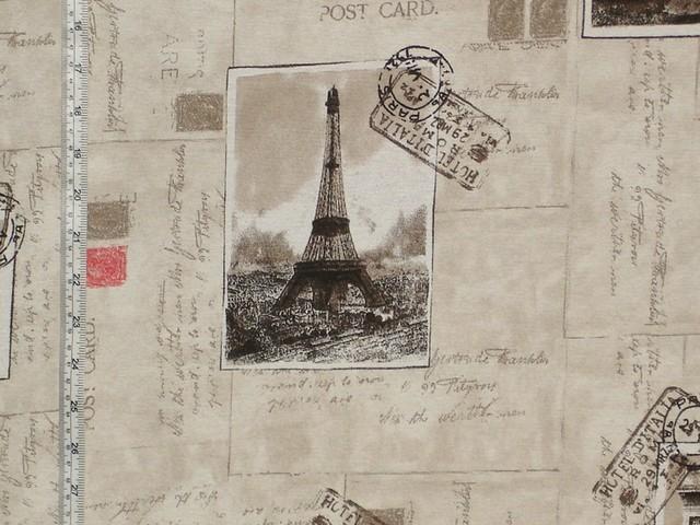 Paris fabric Eiffel Tower document script postcards stamps