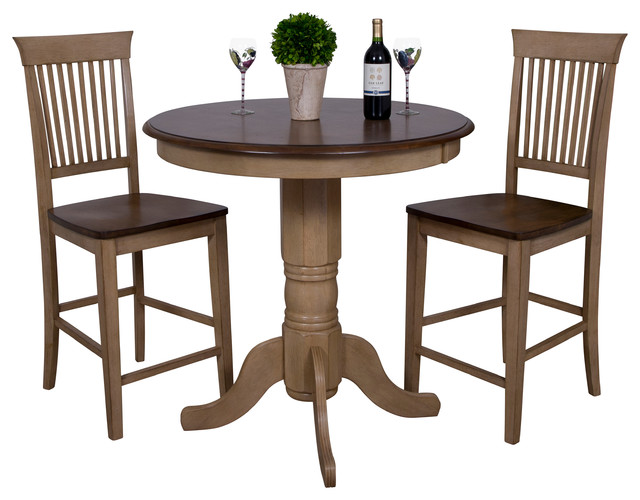 3 Piece Brookpond 36 Quot Round Pub Table Set With Fancy Slat