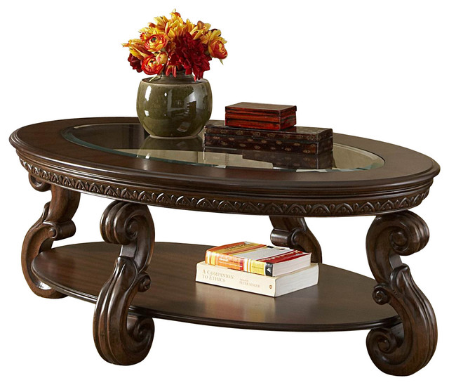 Homelegance Cavendish Oval Cocktail Table With Glass Insert Traditional Coffee Tables By