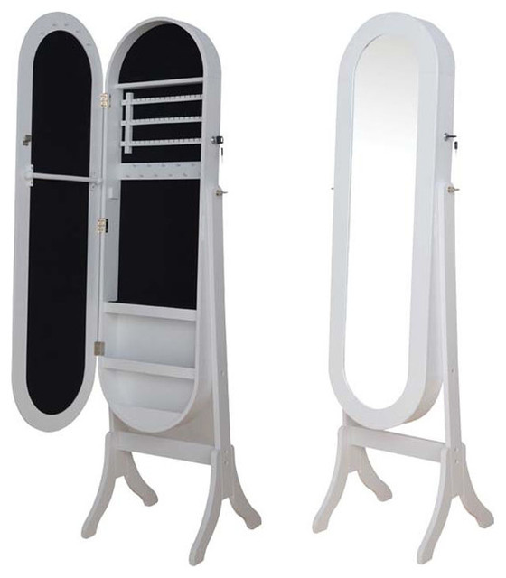White Black Oval Jewelry Armoire Wardrobe Floor Dressing Mirror Cheval Glass - Transitional ...