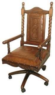mediterranean style colonial leather swivel office chair. Black Bedroom Furniture Sets. Home Design Ideas