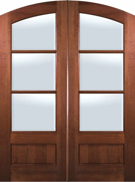 Slab french double door 96 mahogany arch top 3 4 lite 3 for 96 inch exterior french doors