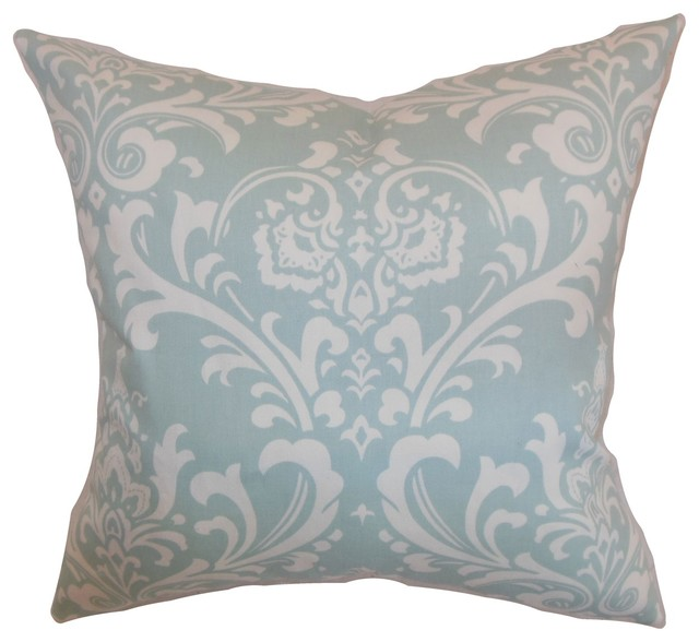 Powder Blue Decorative Pillows : Malaga Damask Pillow Powder Blue 18