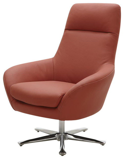 Navis Leather Arm Chair In Orange Modern Armchairs And Accent Chairs By