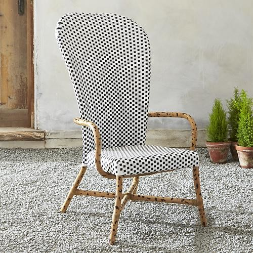 Fish High Back Woven Arm Chair Contemporary Outdoor Lounge Chairs