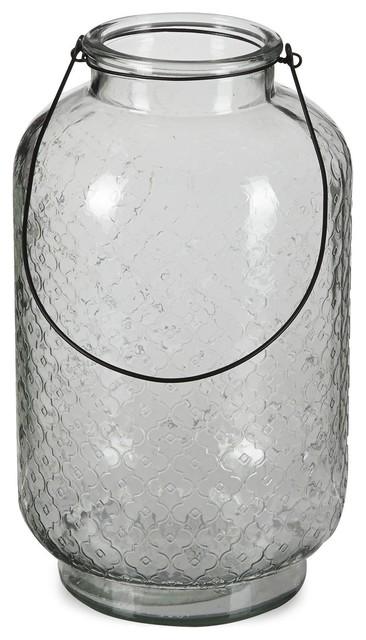 Baltique Lanterne Textur E En Verre Avec Anse M Tal H38cm Classique Photophore Et Bougeoir
