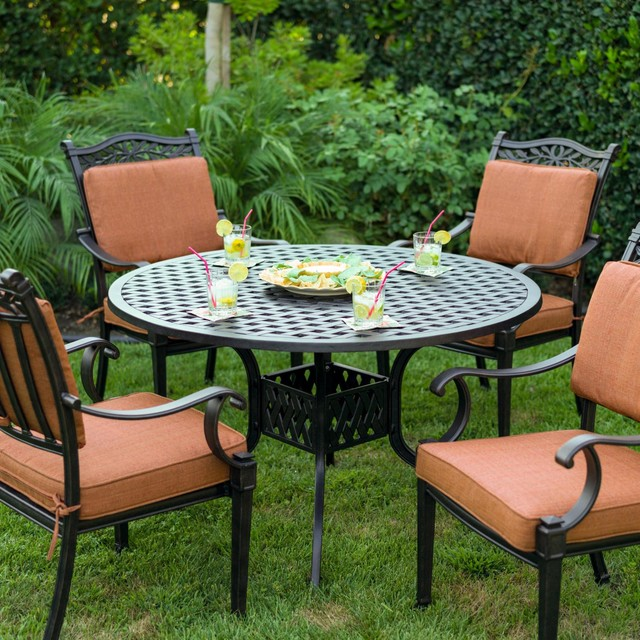 Contemporary Outdoor Dining Sets: Darlee Charleston 4-Person Cast Aluminum Patio Dining Set