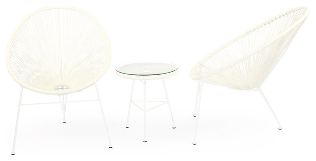 Acapulco Chairs And Table 3 Piece Outdoor Set White Contemporary