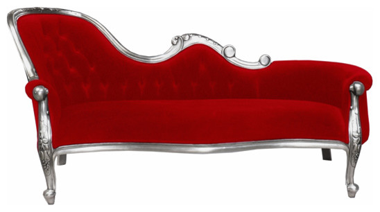 French moulin silver chaise longue in chilli red modern - Chaise longue modernos ...