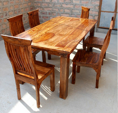 This Stately Handmade Furniture Set Features School Back Chairs And A  Framed Solid Wood Dinning Table.