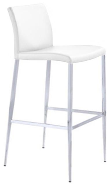 Sleek Modern Stool White Counter Seat Height 26
