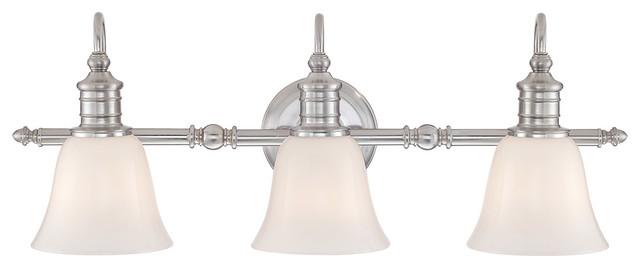 broadgate 3 light bathroom vanity lights in brushed nickel