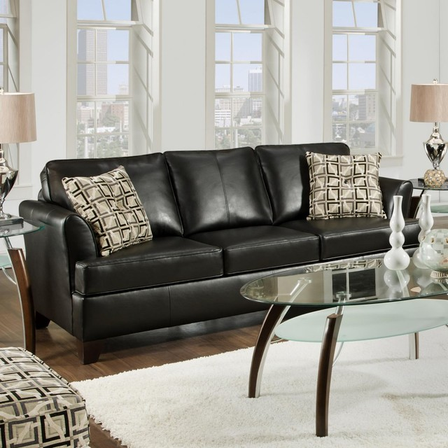 Pillows Traditional Sofa: Simmons Urban Onyx Leather Sofa With Accent Pillows
