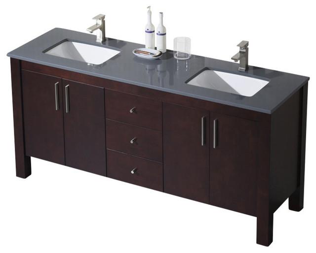 Parsons 72 Double Vanity Dark Walnut White Sink White Countertop Modern
