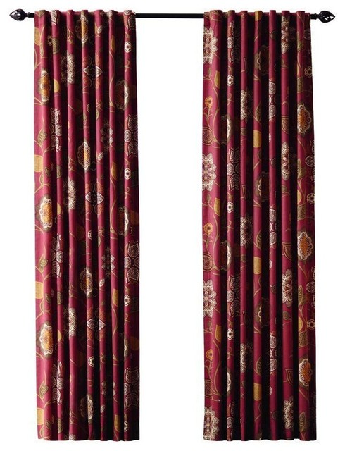 Home Decorators Collection Curtains Drapes Terracotta Floral Cottage Back Tab Contemporary