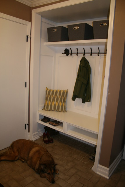 Closet Conversion Into Mudroom Modern Detroit