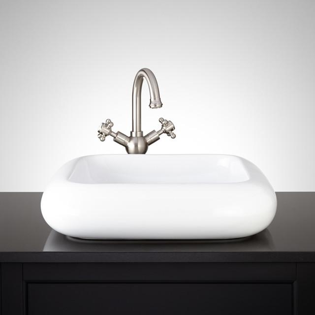 Grahel Square Porcelain Vessel Sink - Traditional - Bathroom Sinks ...