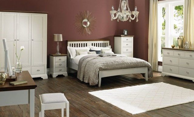 Soft Grey And Walnut Bedroom Set Contemporary Bedroom Furniture Sets