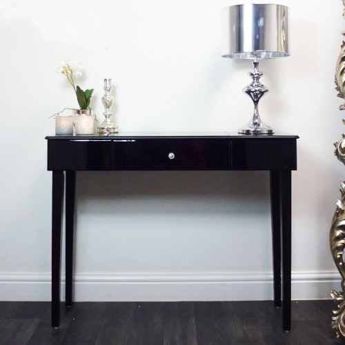 Black glass modern console table contemporary console for Small console tables contemporary