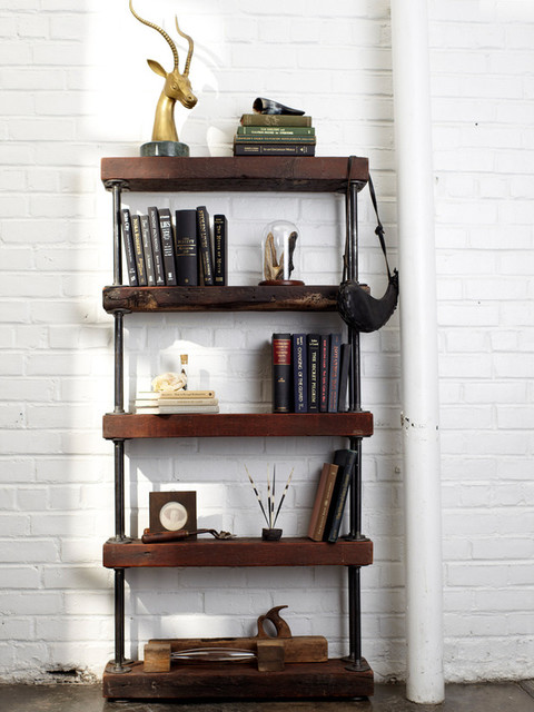 reclaimed wood and pipe shelving unit. Black Bedroom Furniture Sets. Home Design Ideas