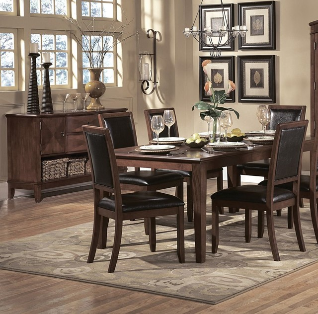 Homelegance Avalon 10 Piece Rectangular Dining Room Set In Cherry Contempor