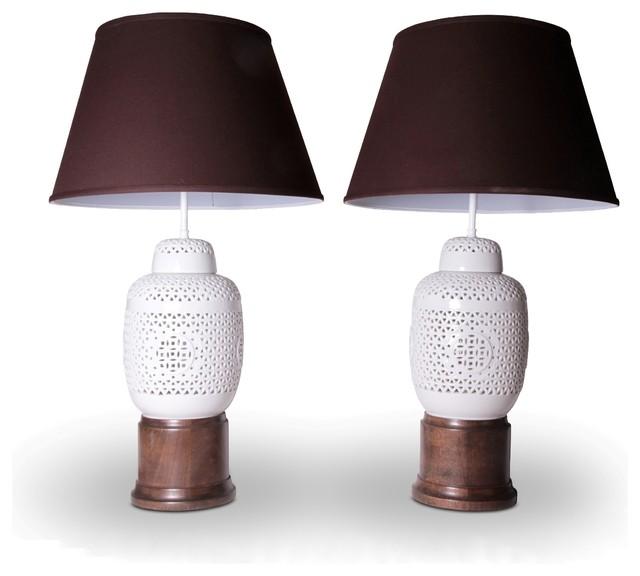 Asian Inspired White Ceramic Lattice Wood Table Lamps