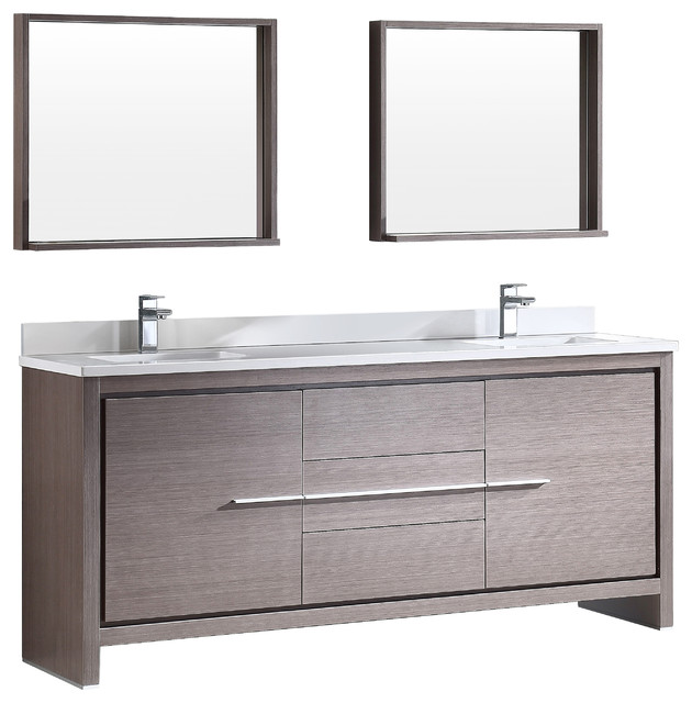 Fresca Allier 72 Modern Double Sink Bathroom Vanity With Mirror Gray O