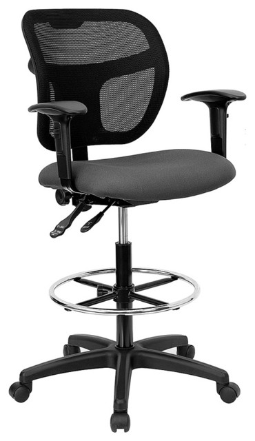 Mesh Drafting Arm Stool W Ergonomic Back Contemporary Office Chairs By