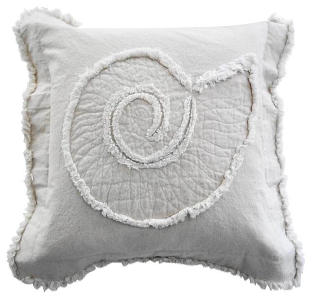 Coastal Inspired Throw Pillows : Coastal Nautilus Throw Pillow, Ivory on Ivory - Beach Style - Decorative Pillows - by Sandy by ...