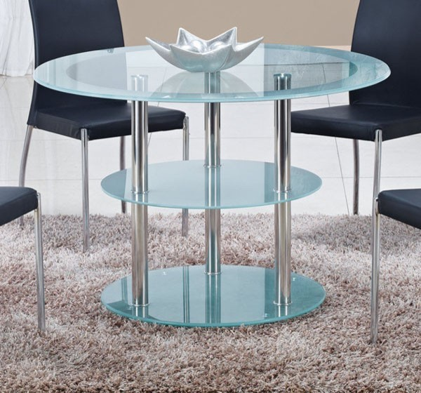 Global furniture round frosted glass dining table with stainless steel legs contemporary Frosted glass furniture