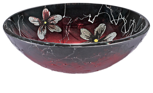 Red/ Black Floral Glass Sink Bowl - Contemporary - Bathroom Sinks - by ...