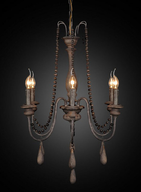 Antique Wood And Rusted Iron Chandelier Contemporary Chandeliers New York By Phoenix