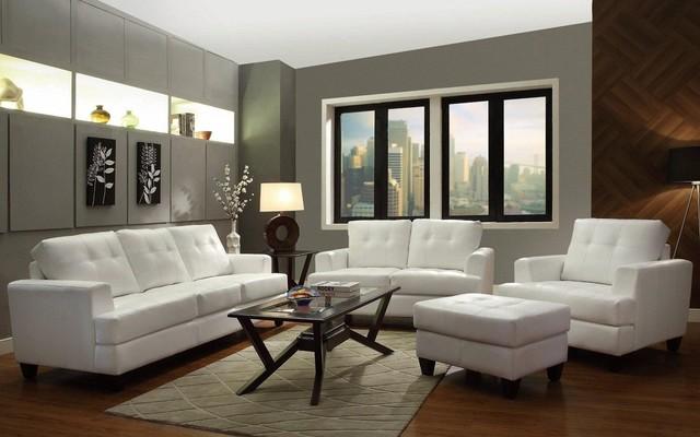 hurley white bonded leather living room set 50356 modern