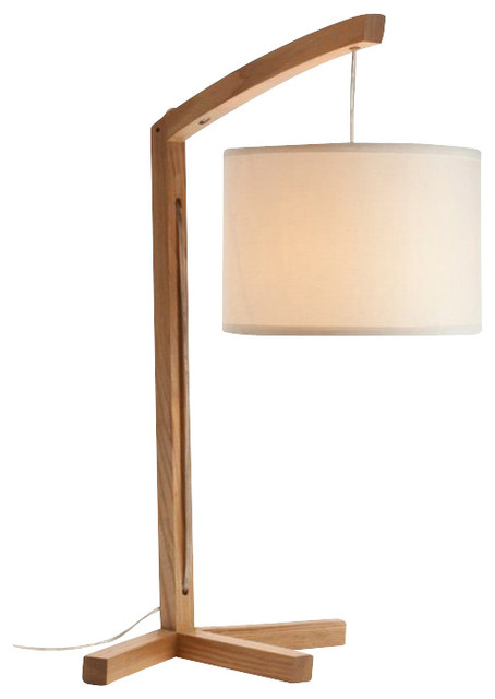 Modern Wooden Table Lamps With Fabric Lantern Shade Large