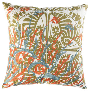"Mikros Pillow, Orange, Blue, and Gold, 22"" x 22"""