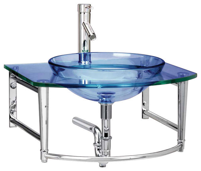 Wall Mount Vessel Sink, Blue Glass/Stainless Haiku - Contemporary - Bathroom Sinks - by ...