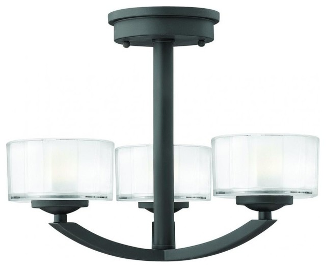 Ceiling Mounted Foyer Lights : Hinkley meridian three light satin black foyer hall semi