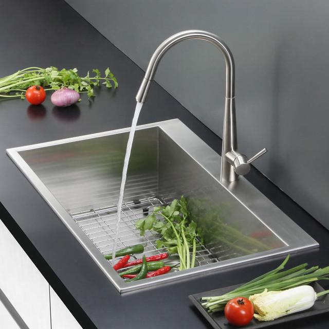 Overmount Stainless Steel Sink : Ruvati Overmount 16 Gauge 25-inch Kitchen Sink Single Bowl ...