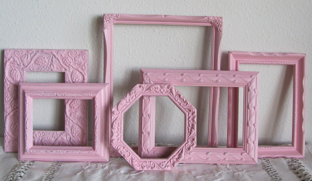 pink picture frames shabby chic girls room nursery by the