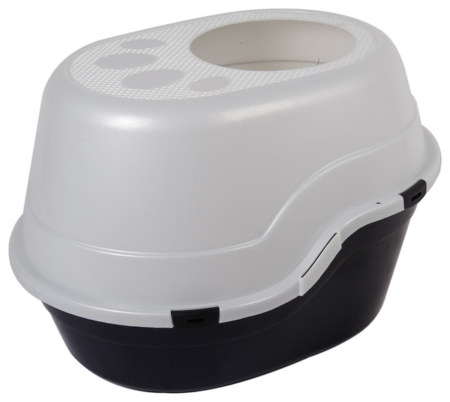 """Favorite 25"""" Top Entry Cat Litter Box, White and Black - Contemporary - Litter Boxes And Covers ..."""