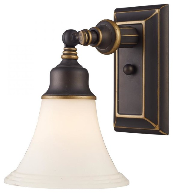 Aged Bronze Wall Sconces : One Light Aged Bronze Wall Light - Traditional - Wall Sconces - by We Got Lites
