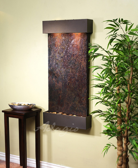 The whispering creek wall water feature indoor fountains - Modern indoor water feature ...