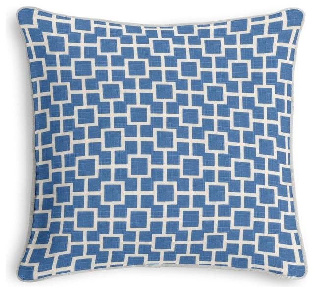 Blue Lattice Throw Pillow : Blue Square Lattice Throw Pillow - Modern - Decorative Pillows - by Loom Decor