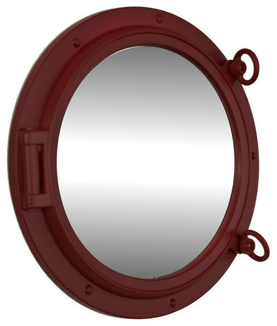 Porthole mirror dark red 15 beach style wall for Porthole style mirror