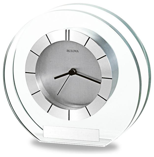 "Accolade 6"" Wide Bulova Table Clock Modern Desk And"