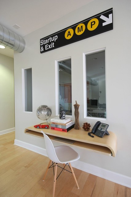 Minimal Float Wall Desk Rift Oak Modern Desks