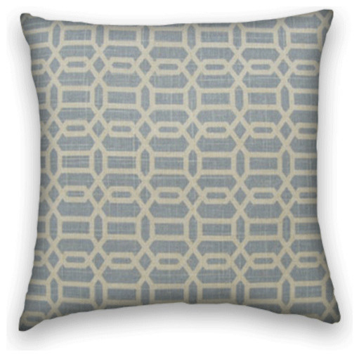 Blue Cream Geometric Throw, 18x18 Pillow Cover with Insert - Traditional - Decorative Pillows ...