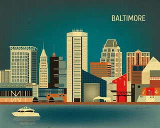 Baltimore, Maryland Skyline Print - Eclectic - Artwork - other metro ...