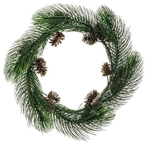 30 long pine needle artificial christmas wreath with pine for Long pine cones